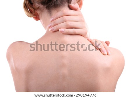 Young woman with neck pain close up