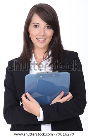Young woman with notepad on white background - stock photo
