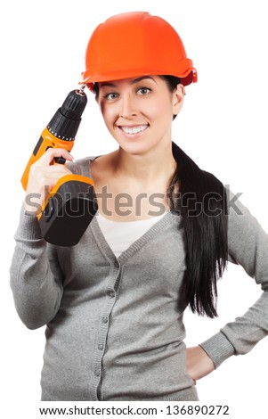 Young woman with orange hard hat