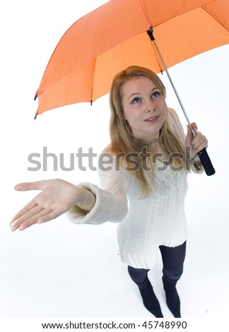 young woman with orange umbrella, on the white background