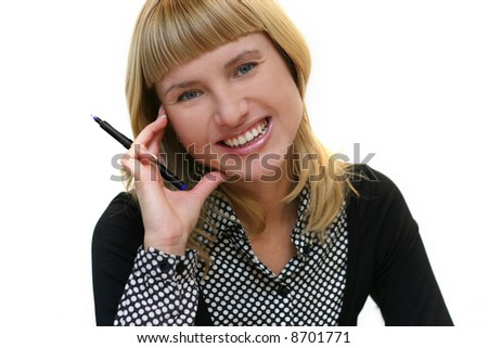 young woman with pen is smiling in office - stock photo