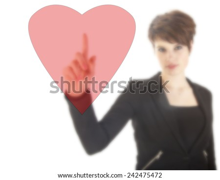 Young woman with red heart isolated on white background - stock photo
