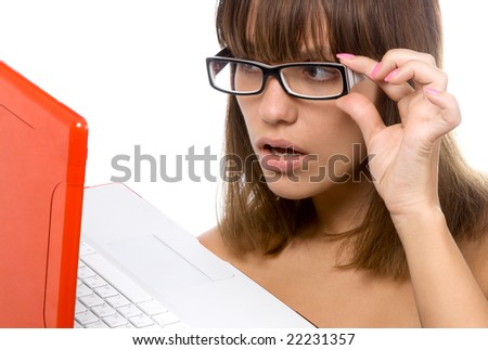 young woman with red laptop on white