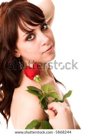 young woman with red rose isolated on white