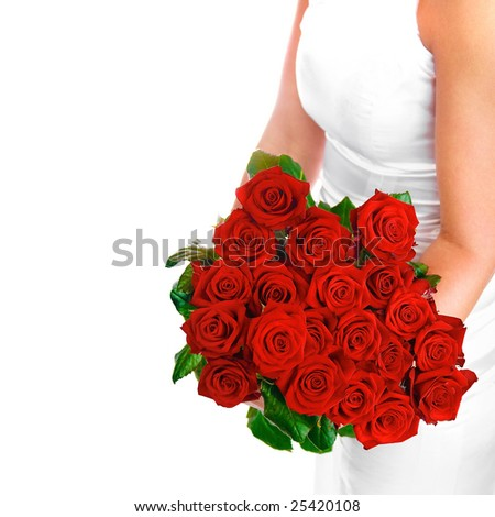 Young woman with red roses - stock photo