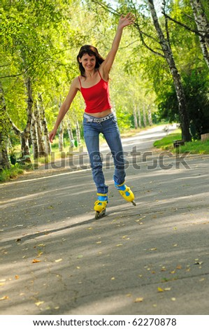 Young woman with rollers - stock photo