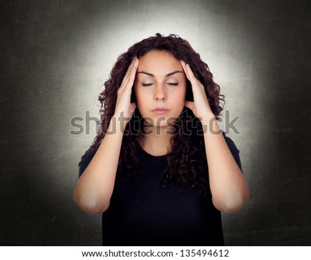 Young Woman With Severe Headache Holding Forehead In Pain - stock photo