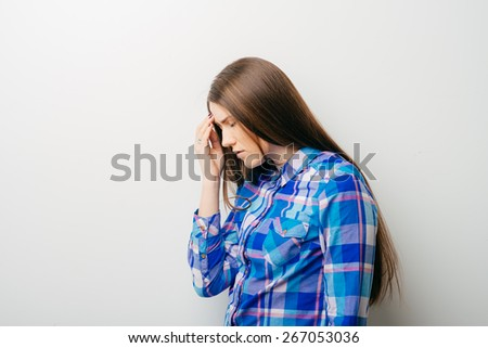 Young woman with sinus pressure pain profile - stock photo