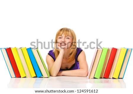 Young woman with stack of books. Isolated