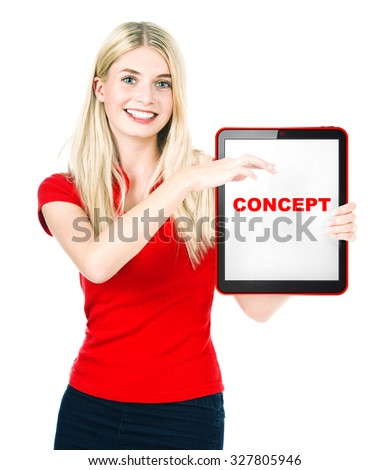 Young woman with tablet PC isolated on white background. Sample text Concept - stock photo