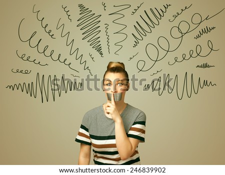 Young woman with taped mouth and curly lines around her head - stock photo