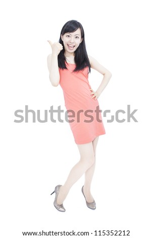 young woman with thumbs up ,isolated over a white background - stock photo