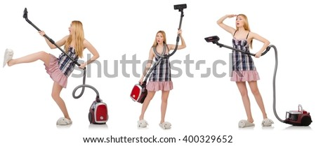 Young woman with vacuum cleaner on white - stock photo