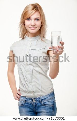 young woman with water
