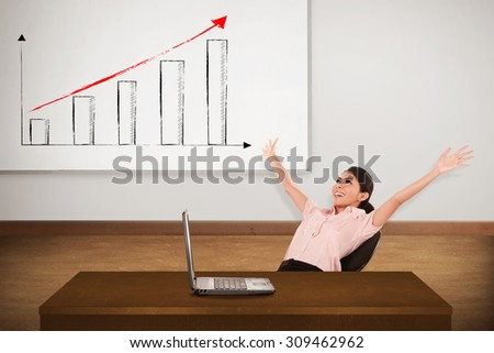 Young woman with white board. There increasing chart image