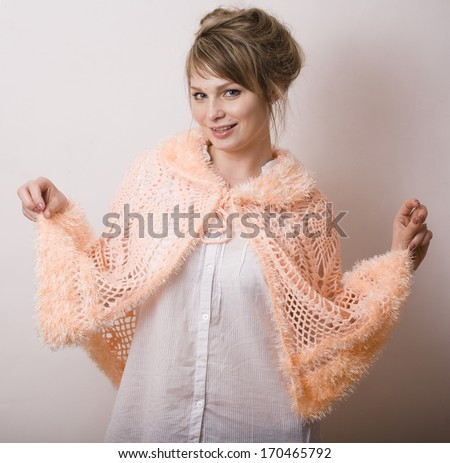 young woman with wrap