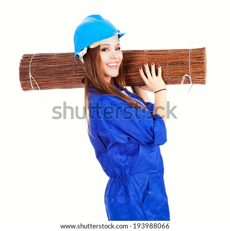 young woman worker with wicker mat, white background - stock photo