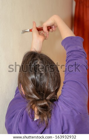 Young woman working - stock photo
