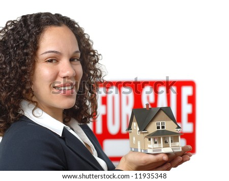 Young woman working as a real estate agent - stock photo