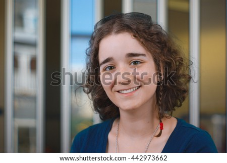 young woman working at the office or client  - stock photo