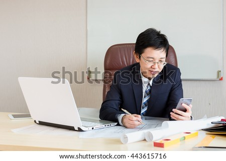 Young woman working from home office with laptop and Watching the clock