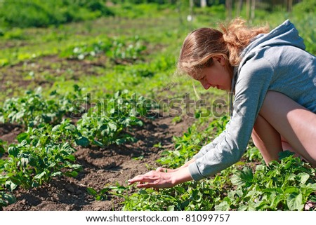 Young woman working in the garden. Caring for potatoes
