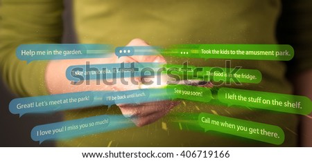 Young woman writing messages with smartphone application  - stock photo
