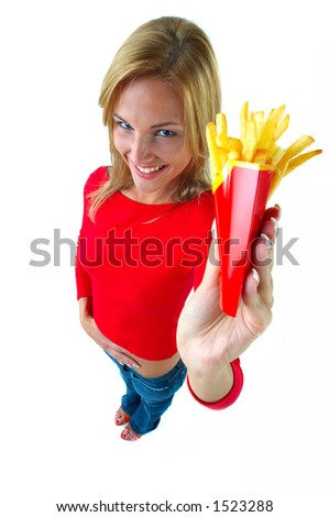 young women and fastfood - stock photo