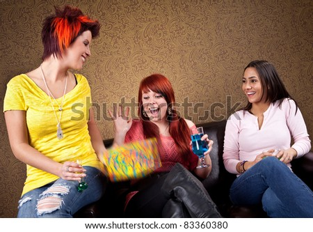 Young women at a birthday party