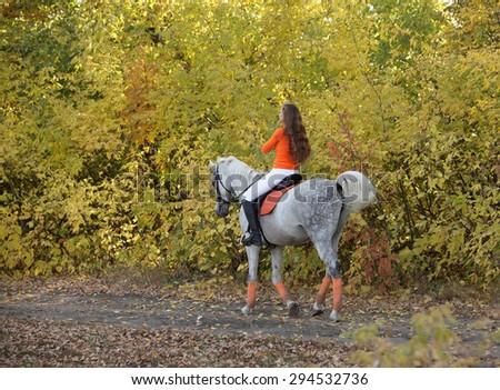 Young women enjoy horesback ride near autumn woods  - stock photo