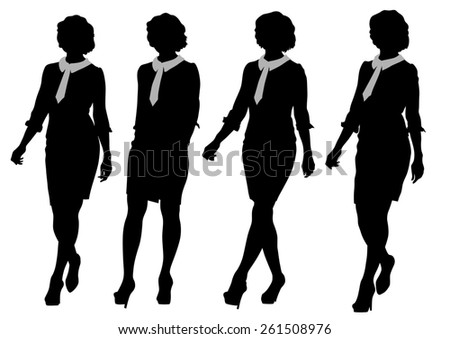 Young women in dress whit phone on white background - stock photo