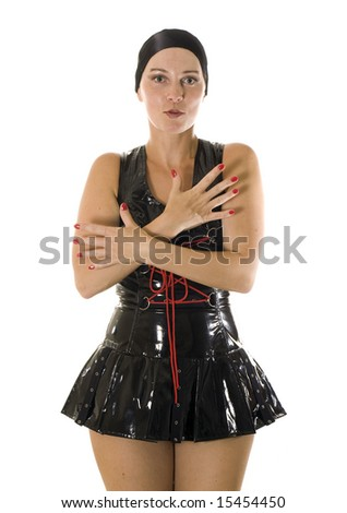 Young women in leather clothes on white background - stock photo