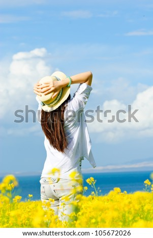Young women in the bears - stock photo