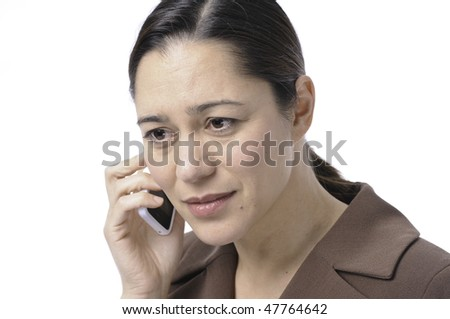 Young women is receiving bad news she is almost crying. Hair is back with a white background. - stock photo
