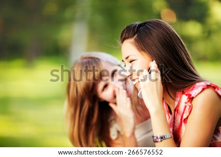 Young women on cell phone. - stock photo