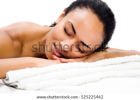 young women relaxing in the spa salon - stock photo