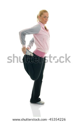Young women stretching quads. Isolated on white - stock photo