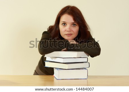 Young women with books - stock photo