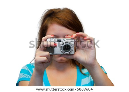 Young women with compact camera, isolated on white background - stock photo