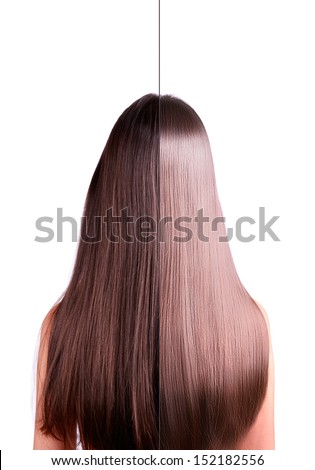 young women with long straight brown hair. rear view. hair straightening, before and after. Image of the two halves. isolated on a white background. - stock photo