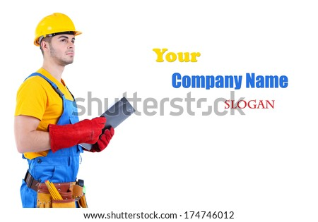Young worker isolated on white - stock photo