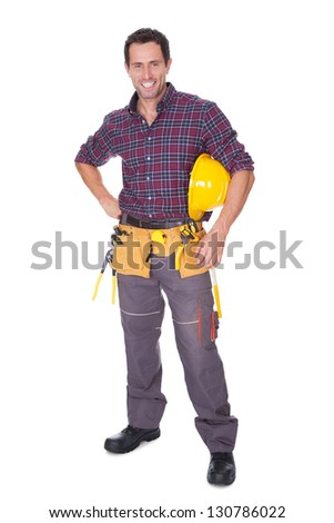 Young Worker Man With Hard Hat On White Background - stock photo
