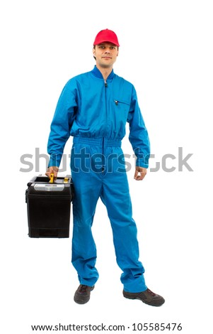 young worker wearing blue equipment toolbox isolated on white - stock photo