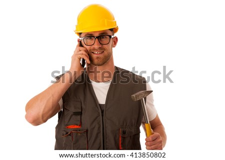 Young worker with protective dress and yellow helmet isolated over white - stock photo