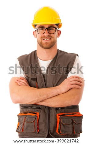 Young worker wtih protective dress and yellow helmet isolated over white - stock photo