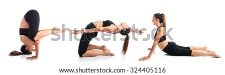 Young yoga female posing