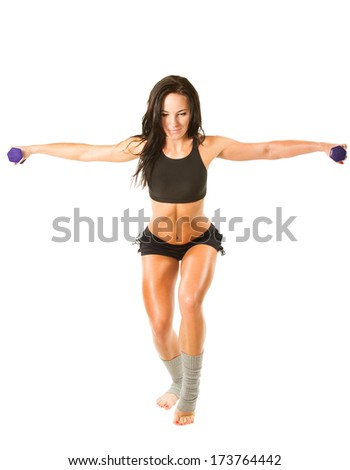 Young yoga woman doing exercise in yoga pose on isolated white background. Concept sports, fitness and healthy living - stock photo