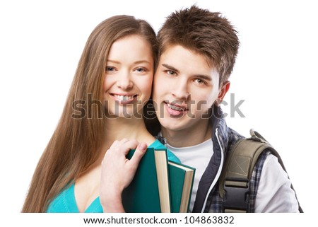 Young Young beautiful couple isolated on white background - stock photo