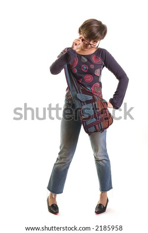 young yuppie girl standing holding glasses