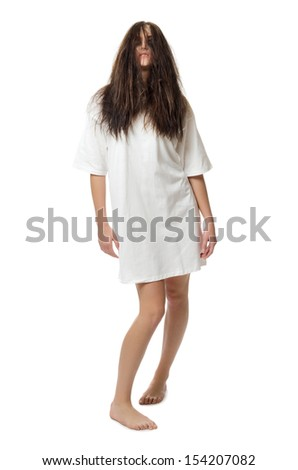 Young zombie girl isolated on white - stock photo
